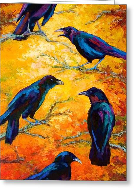 Ravens Greeting Cards - Gossip Column II Greeting Card by Marion Rose
