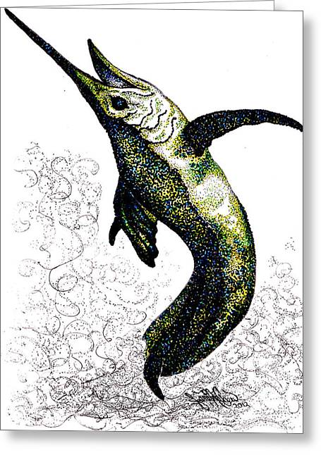 Black Marlin Greeting Cards - Got Bait Greeting Card by Authentic Occurrence