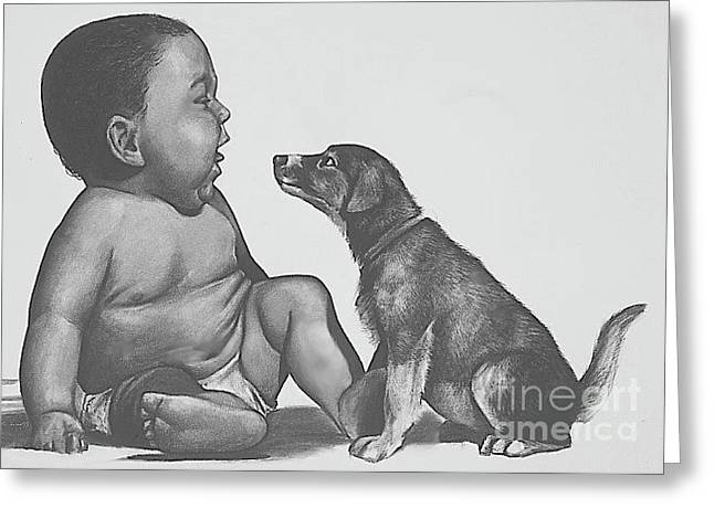 Charcoal Dog Drawing Drawings Greeting Cards - Got Milk Greeting Card by Curtis James