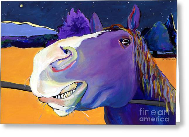 Horses Paintings Greeting Cards - Got Oats      Greeting Card by Pat Saunders-White