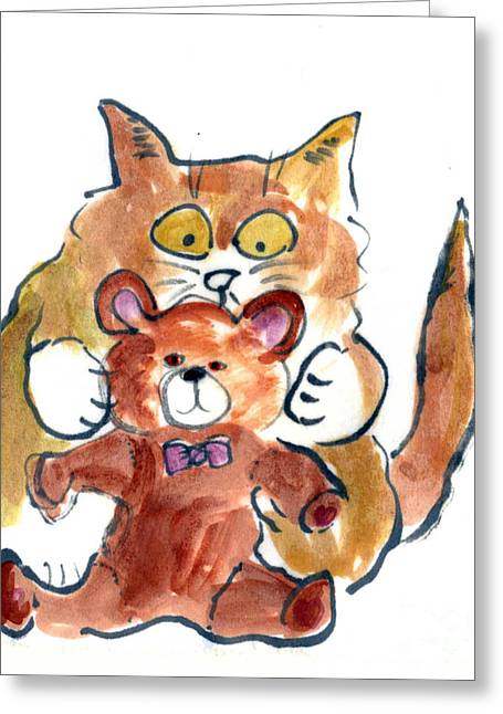 Drawings Of Cats Greeting Cards - Gotcha Teddy Greeting Card by Ellen Miffitt