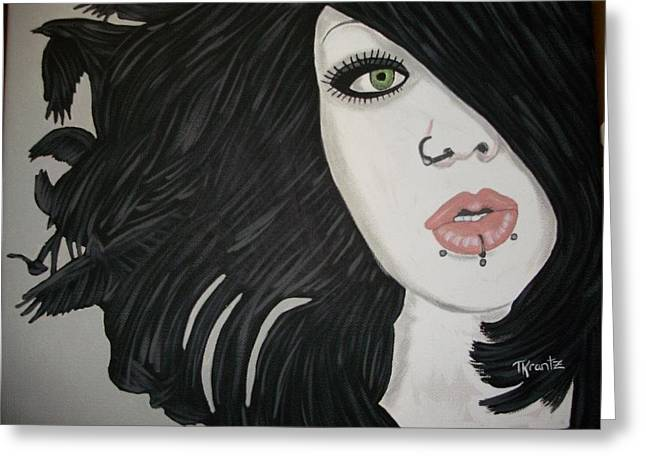 Print Greeting Cards - Goth Child Greeting Card by Tammy Rekito