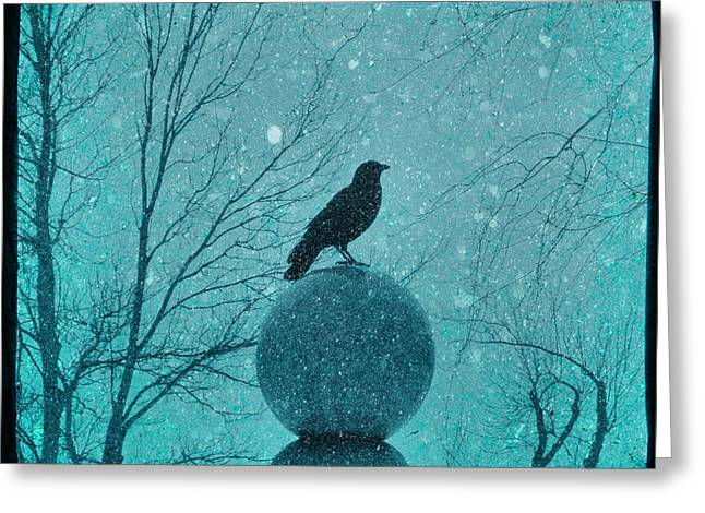 Winter Crows Greeting Cards - Goth Snow Globe Greeting Card by Gothicolors Donna Snyder