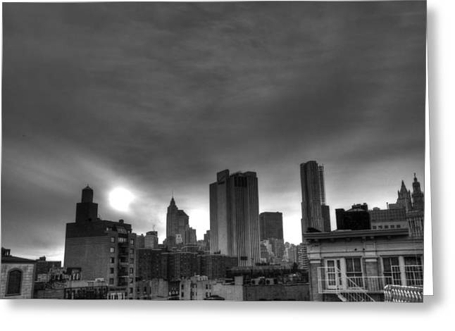 Lower East Side Greeting Cards - Gotham Black and White Greeting Card by Randy Aveille
