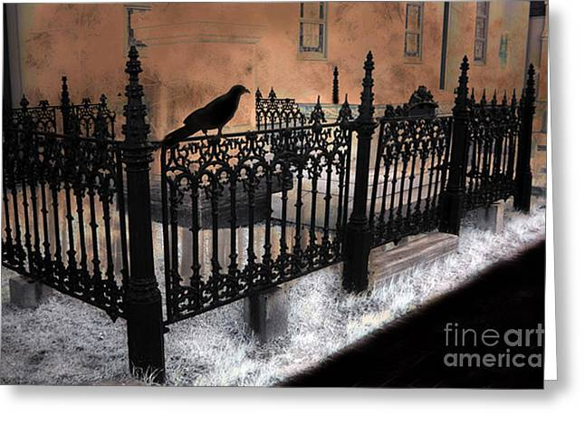 Surreal Gothic Church With Ravens Greeting Cards - Gothic Cemetery Raven Greeting Card by Kathy Fornal