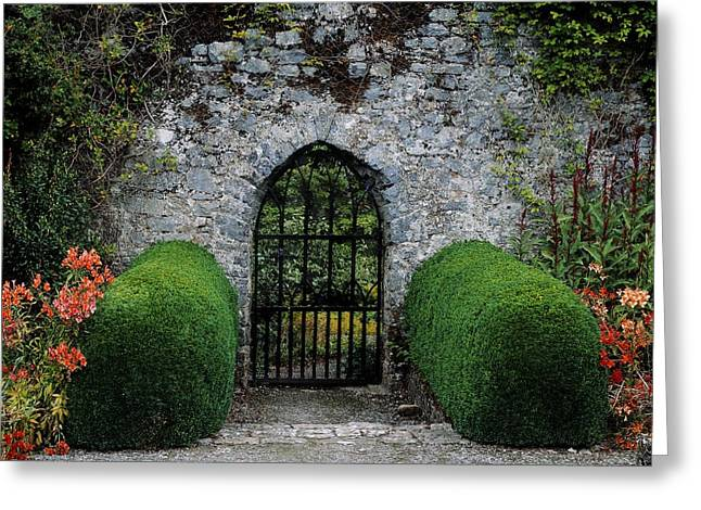 Statuary Garden Greeting Cards - Gothic Entrance Gate, Walled Garden Greeting Card by The Irish Image Collection