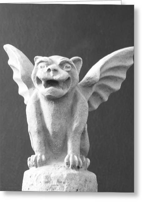 Chelsy Greeting Cards - Gothic Gargoyle Statue Greeting Card by ChelsyLotze International Studio
