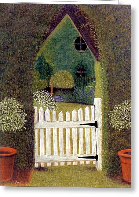 Gate Pastels Greeting Cards - Gothic Gate Greeting Card by Jan Amiss