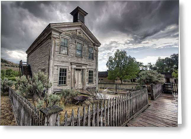 Gothic Masonic Temple 2 - Bannack Ghost Town Greeting Card by Daniel Hagerman