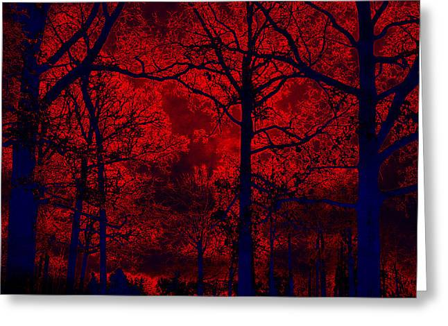 Gothic Surreal Greeting Cards - Gothic Red and Blue Surreal Fantasy Trees Greeting Card by Kathy Fornal