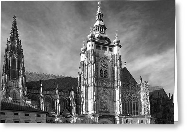Bohemian Greeting Cards - Gothic Saint Vitus Cathedral in Prague Greeting Card by Christine Till