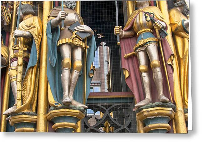 Gothic statues of The Schroner Bruner Greeting Card by Andrew  Michael