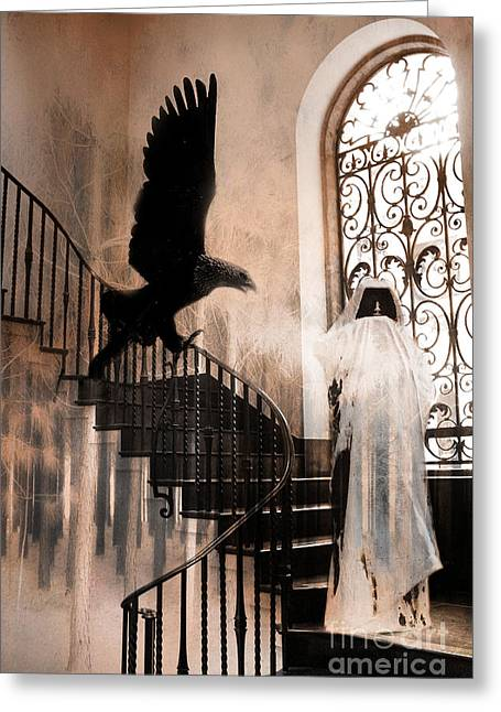 Grim Reaper Greeting Cards - Gothic Surreal Grim Reaper With Large Eagle Greeting Card by Kathy Fornal