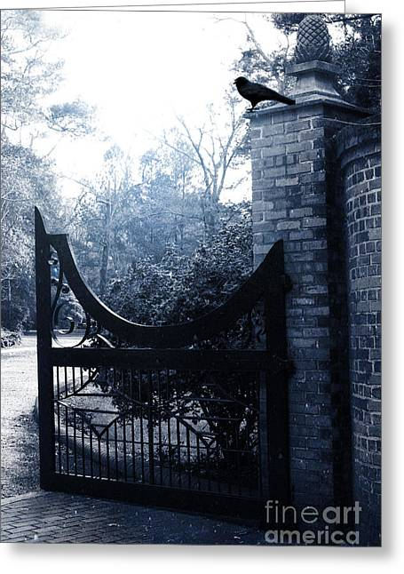 Gothic Surreal Guardian Raven At Black Gate Greeting Card by Kathy Fornal
