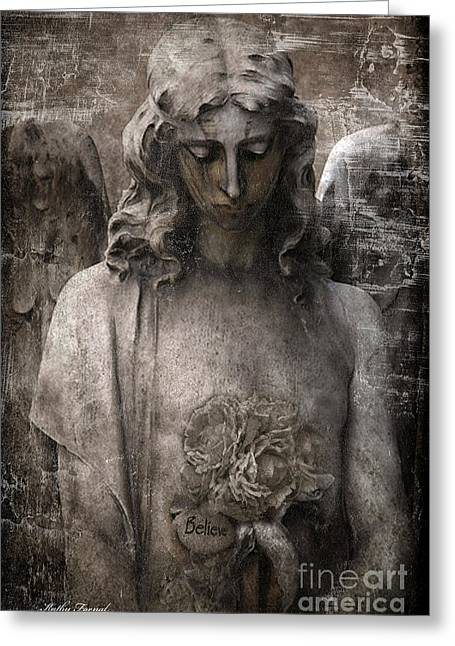 Spiritual Angel Art Greeting Cards - Gothic Surreal Mourning Angel - Inspirational Angel Art - Believe  Greeting Card by Kathy Fornal