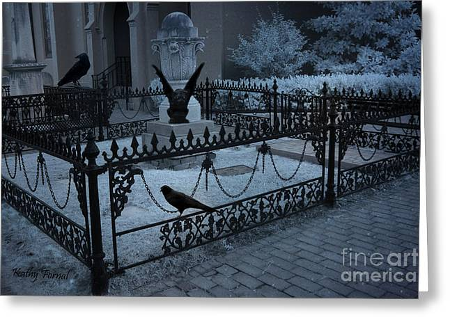 Canvas Crows Greeting Cards - Gothic Surreal Night Gargoyle and Ravens - Cemetery With Gargoyles Ravens Greeting Card by Kathy Fornal