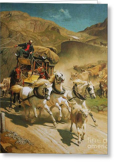 Swiss Paintings Greeting Cards - Gotthardpost Greeting Card by Pg Reproductions