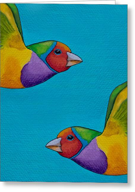 Finch Greeting Cards - Gouldian Finches Greeting Card by Robert Lacy