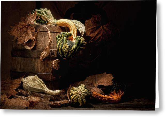 Gourds Greeting Cards - Gourds and Leaves Still Life Greeting Card by Tom Mc Nemar