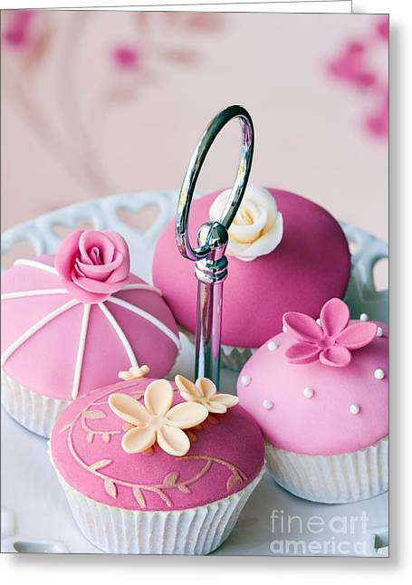 Cake Stand Greeting Cards - Gourmet cupcakes Greeting Card by Ruth Black