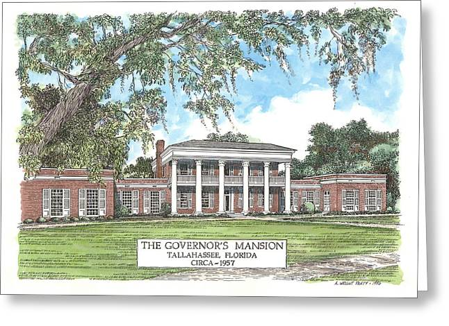 Florida Panhandle Mixed Media Greeting Cards - Governors Mansion Tallahassee Florida Greeting Card by Audrey Peaty