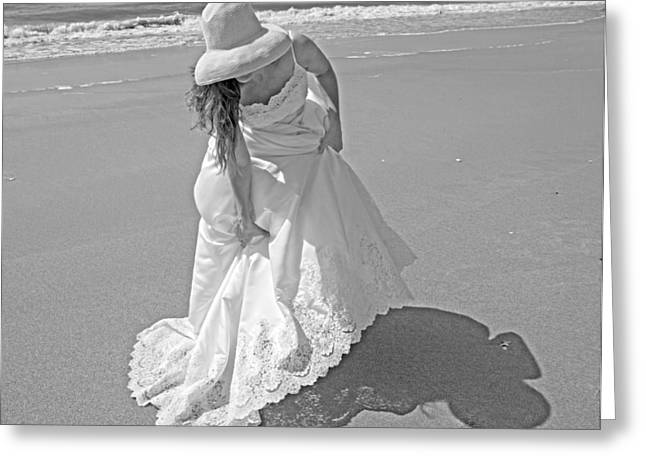 Topsail Island Greeting Cards - Gown Gathering Greeting Card by Betsy A  Cutler