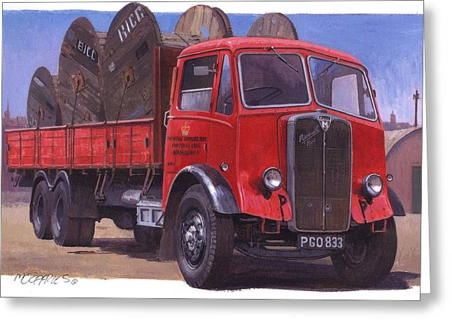 1930s Paintings Greeting Cards - GPO Maudslay six-wheeler. Greeting Card by Mike  Jeffries