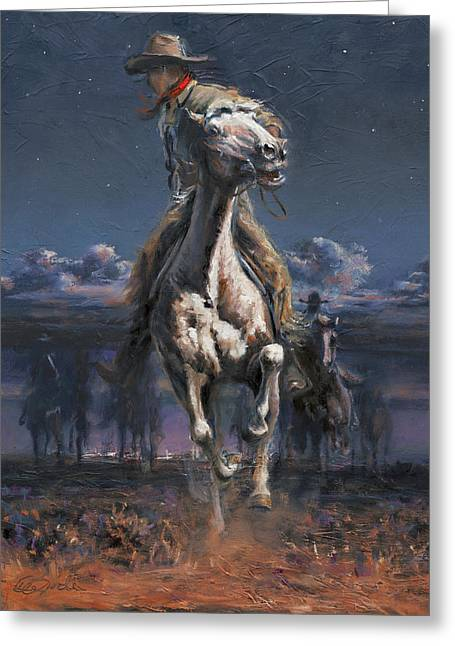 Grab The Fast Horse Greeting Card by Mia DeLode