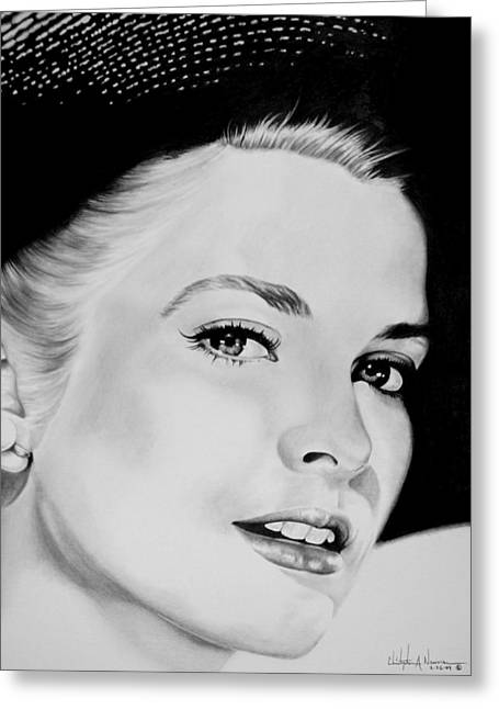 Classic Hollywood Drawings Greeting Cards - Grace Greeting Card by Christopher A Newman