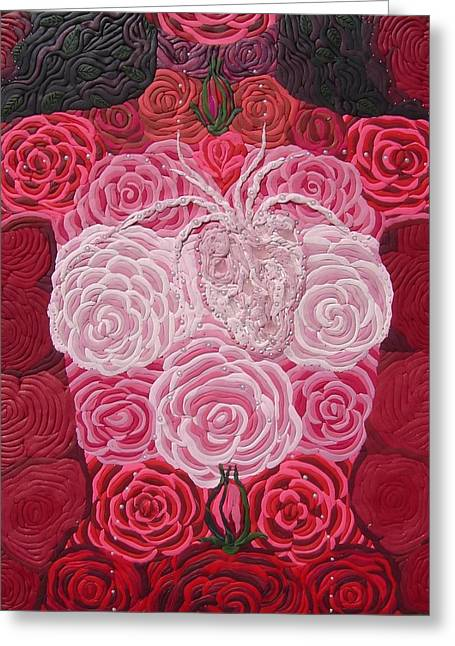 Rose Reliefs Greeting Cards - Grace Flows Greeting Card by Arla Patch