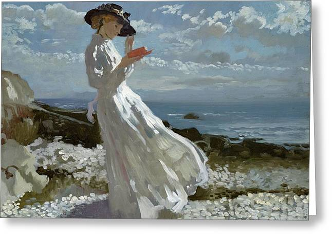 Ocean Shore Greeting Cards - Grace reading at Howth Bay Greeting Card by Sir William Orpen