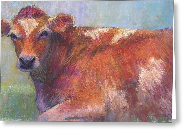 Cattle Pastels Greeting Cards - Grace Greeting Card by Susan Williamson