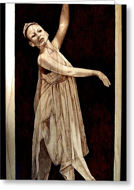 Ballerinas Pyrography Greeting Cards - Grace Touching Light Greeting Card by Jo Schwartz