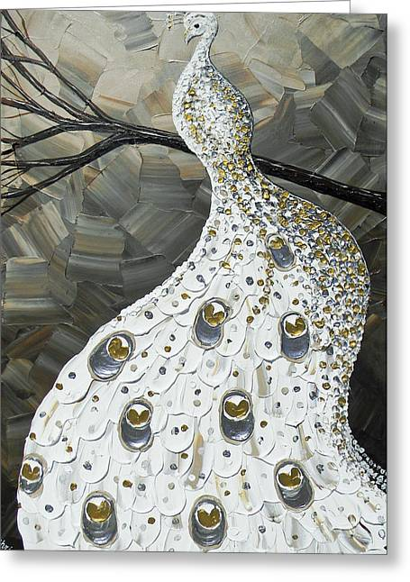 Artist Christine Krainock Greeting Cards - Graceful Elegance White Peacock Greeting Card by Christine Krainock