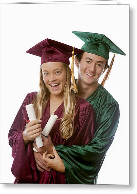 Graduated Background Greeting Cards - Graduation Couple III Greeting Card by Tomas del Amo