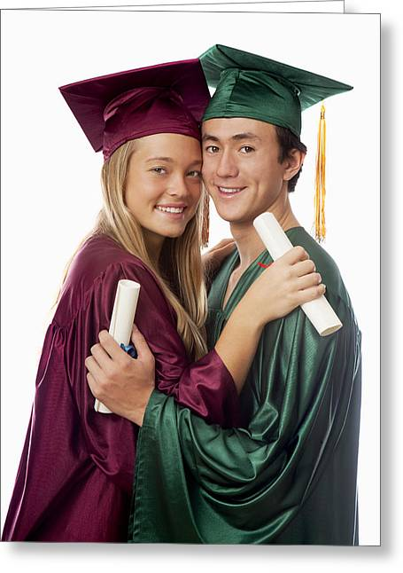 Graduated Background Greeting Cards - Graduation Couple Greeting Card by Tomas del Amo