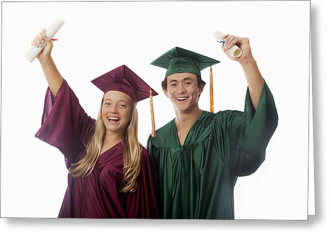 Graduated Background Greeting Cards - Graduation Couple V Greeting Card by Tomas del Amo