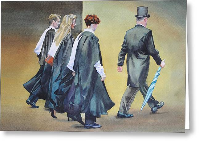 Clever Paintings Greeting Cards - Graduation day Greeting Card by Gilly  Marklew
