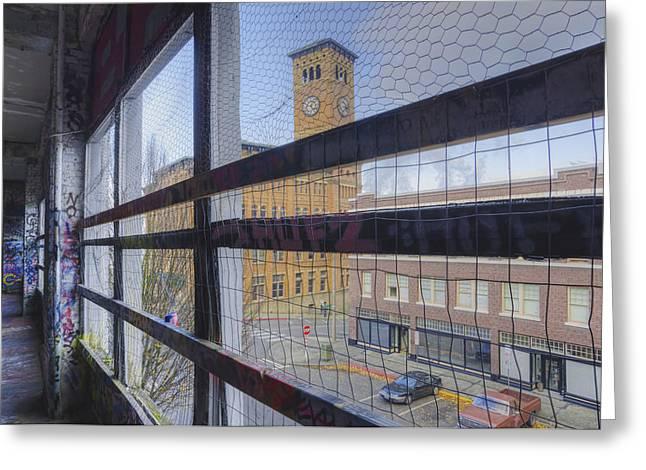 Graffiti Adorns Walls Of A Parking Greeting Card by Douglas Orton