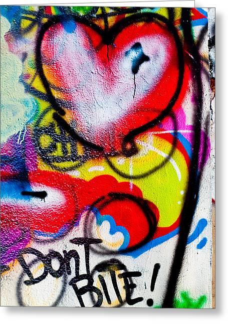 Political Statement Greeting Cards - Graffiti Art - Dont Bite Greeting Card by Erik Hovind