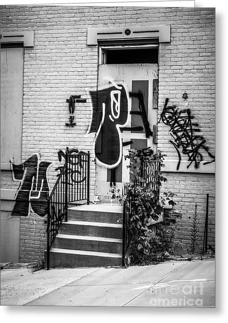 Graffiti Steps Greeting Cards - Graffiti at Cincinnati Abandoned Buildings Greeting Card by Paul Velgos