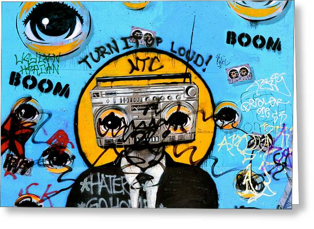 Graffiti Boombox  Man Greeting Card by Emilie Sullivan