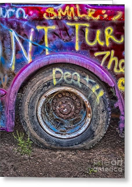 Axels Greeting Cards - Graffiti Bus Wheel Greeting Card by Susan Candelario