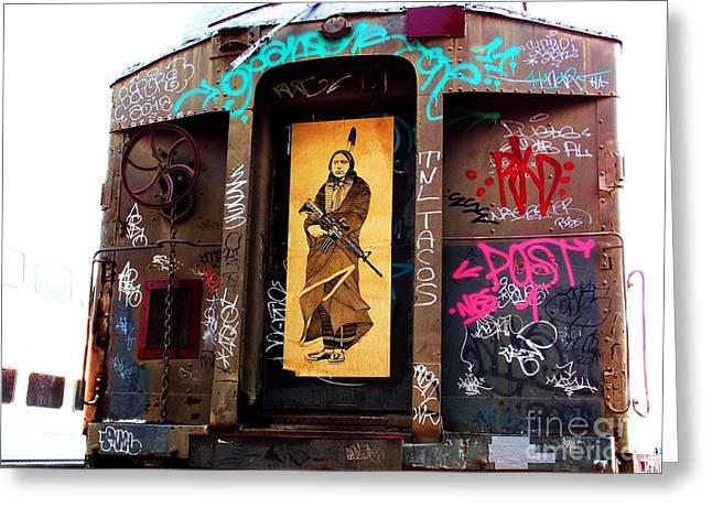 American Grafitti Greeting Cards - Graffiti Caboose  Greeting Card by Vicki Lomay