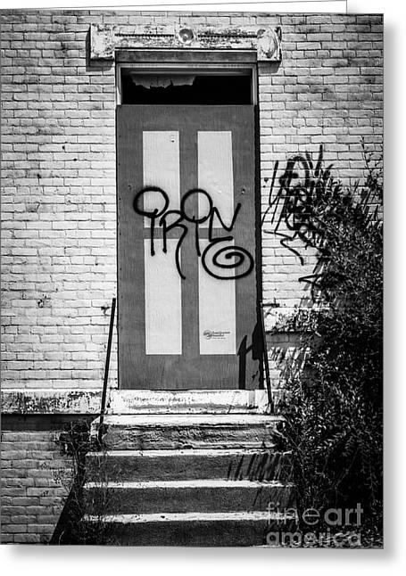Graffiti Steps Greeting Cards - Graffiti Door at Glencoe-Auburn Complex Cincinnati Ohio Greeting Card by Paul Velgos