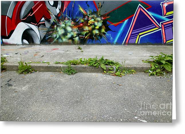 Kerb Greeting Cards - Graffiti footpath Greeting Card by Richard Thomas