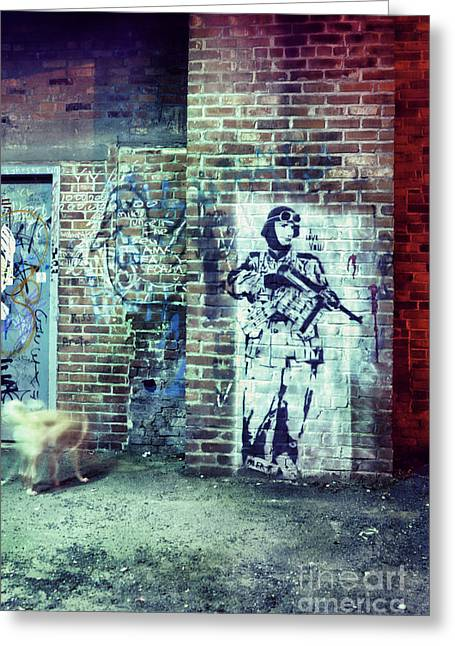 Brick Streets Greeting Cards - Graffiti Greeting Card by HD Connelly