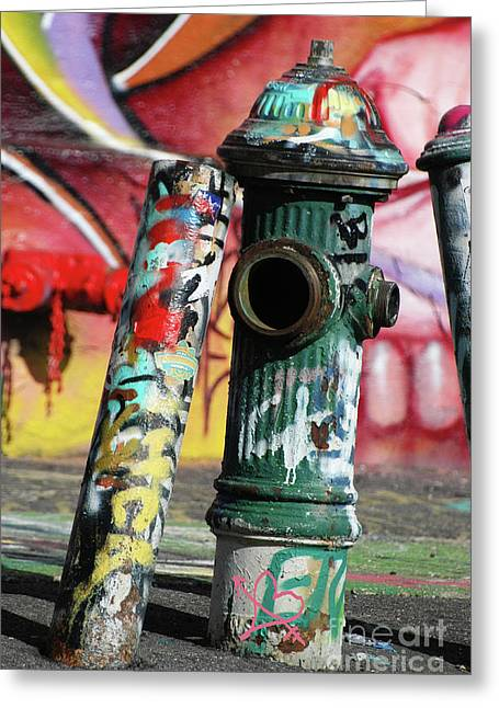 Street Art For The Home Greeting Cards - Graffiti Hydrant on Red Greeting Card by AdSpice Studios