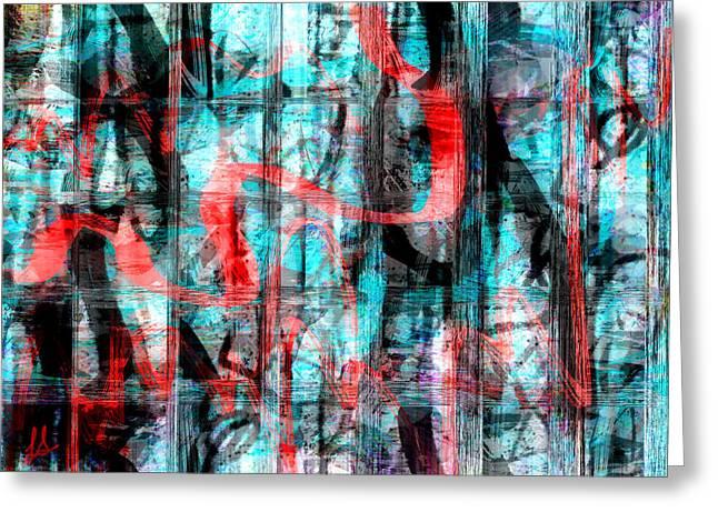 Abstract Digital Art Digital Art Greeting Cards - Graffiti Greeting Card by Linda Sannuti