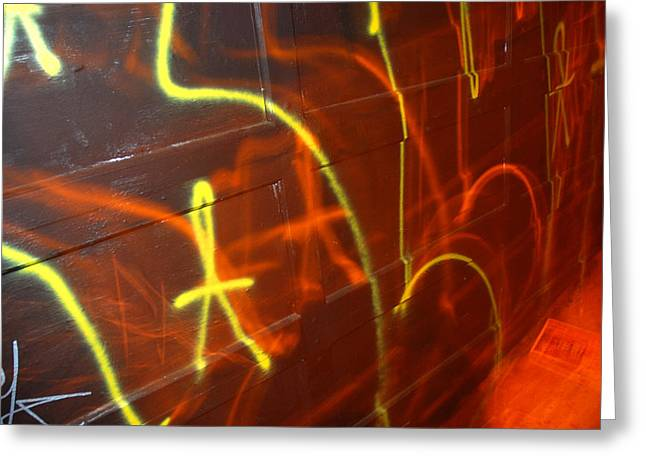 Flash Greeting Cards - Graffiti On A Garage Door In San Greeting Card by Raymond Gehman